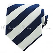 Twill - Navy/White Striped Ties