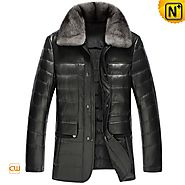CWMALLS® Mink Fur Down Leather Jackets CW860010