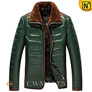 CWMALLS® Men Quilted Down Leather Jackets CW846023