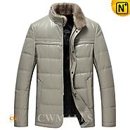 CWMALLS® Mens Gray Down Leather Jacket CW846026