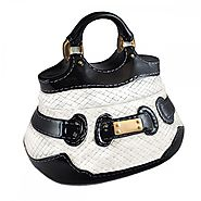 Black and White Handbag Cookie Jar with Gold Buckle