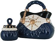 David's Cookies Navy Handbag w/ Cookie TreatSize Jars