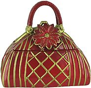 Ceramic Hand Painted Red Holly Handbag Cookie Jar