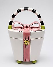 8 1/8 Inch White Purse with Pink Bow and Stripped Handle Cookie Jar