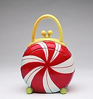 8.75 inch Round Peppermint Candy Shaped Purse Collectible Cookie Jar