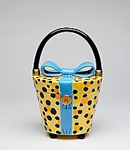 11 Inch Yellow and Black Leopard Print Purse with Blue Bow Cookie Jar