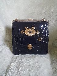 Handbag Purse Cookie Jar Navy and Gold