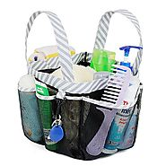 Mesh Shower Caddy Tote, Dorm Bathroom Caddy Organizer with Key Hook and 2 Durable Handles, Quick Hold, 8 Basket Pockets