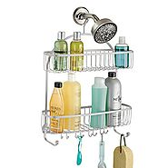 mDesign Extra Wide Bathroom Shower Caddy for Shampoo, Conditioner, Soap - Silver