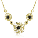 Amatyzt | Midnight Sun Crystal and Onyx Cabochon Gold Necklace