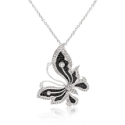 Amatyzt | Black and White Large CZ Butterfly Pendant
