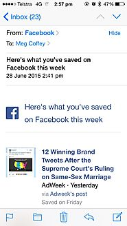 Facebook Emails Users to Remind Them of Saved Stories