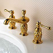 Antique Ti-PVD Finish Brass Three Hole Two Handle Bathroom Sink Faucet At FaucetsDeal.com
