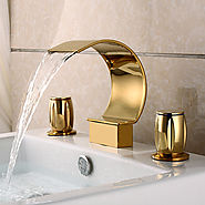 Two Handle Gold Plated three sets of waterfall bathroom sink faucet - FaucetsDeal.com
