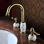 Antique Ti-PVD Finish Brass Two Handle Bathroom Sink Faucet At FaucetsDeal.com