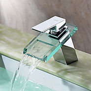 Waterfall Bathroom Sink Faucet with Glass Spout(Chrome Finish) At FaucetsDeal.com