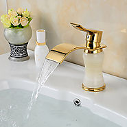 Contemporary Waterfall Brass Imitation jade Ti-PVD Bathroom Sink Faucet - Golden At FaucetsDeal.com
