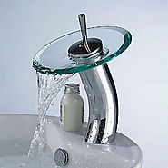 Stylish Glass Vessel Waterfall Faucet - Silver + Translucent Green At FaucetsDeal.com