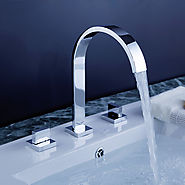Widespread Contemporary Design Chrome finish Bathroom Sink Faucet At FaucetsDeal.com