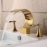 Gold Plated Finish Ti-PVD Brass three sets of bathroom sink faucet At FaucetsDeal.com