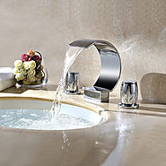 Contemporary Gold Plated three sets of bathroom sink faucet At FaucetsDeal.com