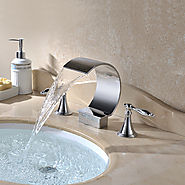 Chrome color three sets of bathroom waterfall sink faucet with Two Handles At FaucetsDeal.com