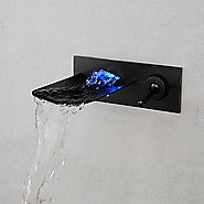Brushed LED Light Waterfall Wall Mounted Bathroom Basin Faucet At FaucetsDeal.com