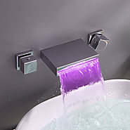 Contemporary Widespread Wall Mount Waterfall 3 Colors LED Bathroom Sink Faucet At FaucetsDeal.com
