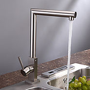 Contemporary Style Centerset Brushed Finish Brass Kitchen Faucet At FaucetsDeal.com
