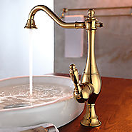 Shengbaier Vintage Style Ti-PVD Finish Curve Design Kitchen Faucet At FaucetsDeal.com