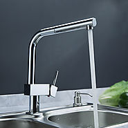 Contemporary Solid Brass Pull Out Kitchen Faucet At FaucetsDeal.com