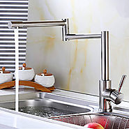 Stainless Steel Lead-Free Kitchen Mixer Tap Faucet Nickel Brushed Kitchen Faucet At FaucetsDeal.com