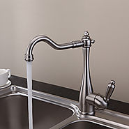 Solid Brass Nickel Brushed Finish Kitchen Faucet At FaucetsDeal.com
