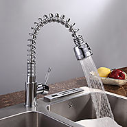 Solid Brass Spring Pull Down Kitchen Faucet At FaucetsDeal.com