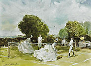 A Game of Tennis by John Strickland Goodall (British artist, 1908–1996)