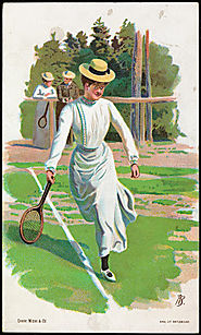 Women playing tennis by Andreas Bloch c. 1900 (Norwegian, 1860 – 1917)