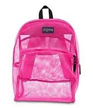 JanSport® Mesh Backpack (pink)-Semi Lightweight Sporty Bag for Children-With Front Utility Pocket And Hanging Compart...
