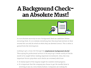 A Background Check- an Absolute Must!