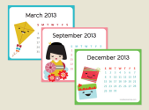 "Creative Mamma "" Free Printable: 2013 Kawaii Mini Calendar"