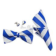 White & Blue College Team Bow Tie Set