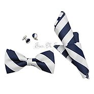 White & Navy College Team Bow Tie Set