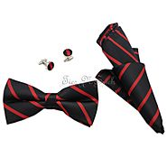 Black & Red Thin College Team Bow Tie Set