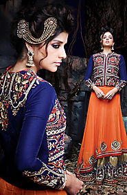 Orange & blue 3-piece lehenga choli -