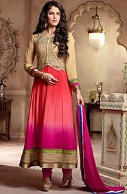 cream & pink anarkali suit