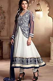 blue & off-white anarkali suit