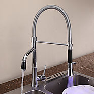 One Hole Single Handle Pullout Spray Deck Mounted Kitchen Faucet with Color Changing LED Light At FaucetsDeal.com