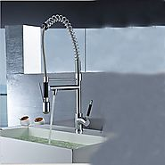 Contemporary Single Handle Chrome Finish Pull-Out Spray LED Kitchen Faucet with 3 Color Changing At FaucetsDeal.com