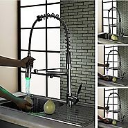 Contemporary Deck Mounted LED Brass Chrome Kitchen Faucet At FaucetsDeal.com