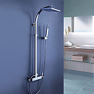 Tub Shower Faucet with 8 inch Shower Head + Hand Shower At FaucetsDeal.com