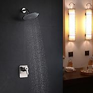 Contemporary Nickel Brushed Rain Shower Faucet At FaucetsDeal.com
